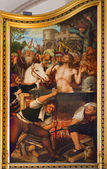 ANTWERP, BELGIUM - SEPTEMBER 4: Saint John the Evangelist in a Vat of Boiling Oil as part of triptych by Quinten Mestsijs (1509 - 1511) in the cathedral on September 4, 2013 in Antwerp, Belgium — Stock Photo