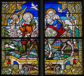 MECHELEN, BELGIUM - SEPTEMBER 6: Flight to Egypt. Windowpane of St. Rumbold's cathedral on September 6, 2013 in Mechelen, Belgium. — Stock Photo