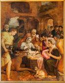 Antwerpen, belgien - september 4: anbetung der pastores von frans floris aus dem jahr 1568 in der kathedrale unserer lieben frau am 4. september 2013 in antwerpen, belgien — Stockfoto