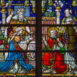 MECHELEN, BELGIUM - SEPTEMBER 6:  Wedding of Virgin Mary and st. Joseph  scene from windowpane of St. Rumbold's cathedral on Sepetember 6, 2013 in Mechelen, Belgium. — Stock Photo