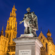 ������, ������: Antwerp Statue of painter P P Rubens and tower of cathedral by Willem Geefs 1805 1883 in dusk