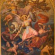 VIENNA - JULY 27: Archangel Michael and war with the bad angels scene by Leopold Kupelwieser from 1860 in nave of Altlerchenfelder church on July 27, 2013 Vienna. — Stock Photo #36796593