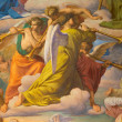 VIENNA - JULY 27: Angels with the trumps. Detail of fresco of Last judgment scene by Leopold Kupelwieser from 1860 in nave of Altlerchenfelder church on July 27, 2013 Vienna. — Zdjęcie stockowe