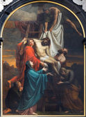ANTWERP - SEPTEMBER 5: Paint of The Descent from the Cross by Cornelis Cels from years 1807 - 1830 on the main altar in St. Pauls church (Paulskerk) on September 5, 2013 in Antwerp, Belgium — Stock Photo