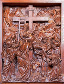ANTWERP, BELGIUM 5: Carved Deposition of the cross relief in St. Pauls church (Paulskerk) on September 5, 2013 in Antwerp, Belgium — Stock Photo