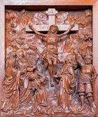 ANTWERP, BELGIUM 5: Carved relief of Crucifixion in St. Pauls church (Paulskerk) on September 5, 2013 in Antwerp, Belgium — Stock Photo