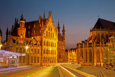 Leuven - Gothic town hall and st. Peters cathedral from Margaret — Stock Photo