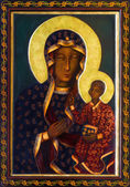 VIENNA - JULY 27: Icon of black Madonna from side altar of Altlerchenfelder church from 19. cent. on July 27, 2013 Vienna. — Stock Photo