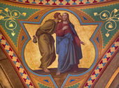 VIENNA - JULY 27: Fresco of Judas betray Jesus with the kiss scene in side nave of Altlerchenfelder church from 19. cent. on July 27, 2013 Vienna. — Stock Photo
