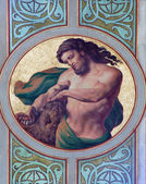 VIENNA - JULY 27: Fresco of Samson in side nave of Altlerchenfelder church from 19. cent. on July 27, 2013 Vienna. — Stock Photo