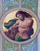 VIENNA - JULY 27: Fresco of Samson in side nave of Altlerchenfelder church from 19. cent. on July 27, 2013 Vienna. — Stock Photo