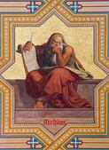 VIENNA - JULY 27: Fresco of prophet Micah by Carl Mayer from 19. cent. in Altlerchenfelder church on July 27, 2013 Vienna. — Stockfoto