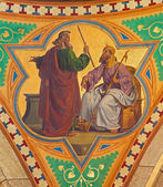 VIENNA - JULY 27: Fresco of Moses for the Pharaoh scene from 19. cent. in Altlerchenfelder church on July 27, 2013 Vienna. — Stock Photo