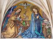 VIENNA - JULY 3: Mosaic of Annunciation from main portal of gothic church Maria am Gestade on July 3, 2013 Vienna. — Stock Photo