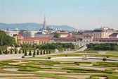 Vienna - gardens of Belvedere palace in morning and the town — Stock Photo