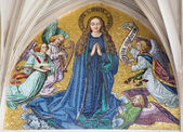VIENNA - JULY 3: Mosaic of Virgin Mary from main portal of gothic church Maria am Gestade on July 3, 2013 Vienna. — Stock Photo