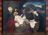ANTWERP, BELGIUM - SEPTEMBER 5: Fresco - Burial of Jesus by Josef Janssens from years 1903 - 1910 in the cathedral of Our Lady on September 5, 2013 in Antwerp, Belgium — Stock Photo