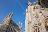Leuven - Gothic town hall and st. Peters cathedral in morning light — Zdjęcie stockowe