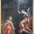 Stock Photo: BRUSSELS - JUNE 21: Annunciation by unknow autor from 17. cent. in church of Saint John Baptist on June 21, 2012 in Brussels.
