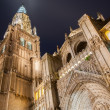 Toledo - Cathedral Primada Santa Maria de Toledo in dusk — Stock Photo #37084027