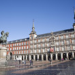 Постер, плакат: MADRID MARCH 3: Plaza Mayor in morning light with the statue of Philips III and Casa de la Panaderia in March 3 2013 in Spain