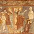 VERONA - JANUARY 27: Fresco of Resurrection of Lazarus and baptism of Christ from 13. - 14. cent. in basilica San Zeno in January 27, 2013 in Verona, Italy. — Stock Photo