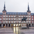 Постер, плакат: MADRID MARCH 9: Plaza Mayor in morning light with the statue of Philips III and Casa de la Panaderia in March 9 2013 in Spain