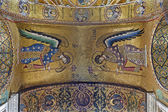 PALERMO - APRIL 8: Mosaic of Archangel Michael and Gabriel from ceiling in Church of Santa Maria dell' Ammiraglio or La Martorana from 12. cent. on April 8, 2013 in Palermo, Italy. — Stock Photo