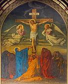 ANTWERP, BELGIUM - SEPTEMBER 5: Crucifixion. Fresco in Joriskerk or st. George church from 19. cent. on September 5, 2013 in Antwerp, Belgium — Stockfoto