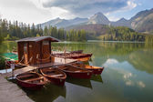 High Tatras - Strbske lake and the boats — Stock Photo