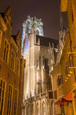 Mechelen - Rumbold's cathedral at night — Stock Photo