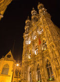 Leuven - north-east portal of Gothic town hall at night — Stock Photo