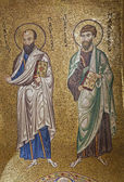PALERMO - APRIL 8: Mosaic of apostle Paul and Jacob from in Church of Santa Maria dell' Ammiraglio or La Martorana from 12. cent. on April 8, 2013 in Palermo, Italy. — Stock Photo