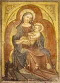 VERONA - JANUARY 27: Madonna fresco from 12. - 15. cent. by anonym author in Basilica di San Zeno on January 27, 2013 in Verona, Italy. — Stock Photo