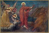 ANTWERP, BELGIUM - SEPTEMBER 5: Fresco of Temptation of Jesus in Joriskerk or st. George church from 19. cent. on September 5, 2013 in Antwerp, Belgium — Stock Photo