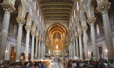 PALERMO - APRIL 9:Main nave of Monreale cathedral. Church is wonderful example of Norman architecture. Cathedral was completed about 1200 on April 9, 2013 in Palermo, Italy. — Stock Photo