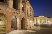 Verona - Arena and Comune di Verona building in dusk — Stock Photo