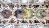 PALERMO - APRIL 8: Modern fresco of Last judgment by Frederico Spoltoze from year 1954 and oder works on ceiling of church La chiesa del Gesu or Casa Professa.on April 8, 2013 in Palermo, Italy. — Stock Photo