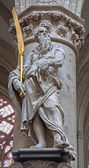 BRUSSELS - JUNE 22: Statue of st. Simon the apostle by Lucas e Faid Herbe (1644) in baroque style from gothic cathedral of Saint Michael and Saint Gudula on June 22, 2012 in Brussels. — Stock Photo