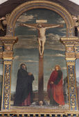 VERONA - JANUARY 27: Crucifxion by Francesco Morone (1498) from Avanzi Chapel in San Bernardino church on January 27, 2013 in Verona, Italy. — Stock Photo