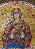PALERMO - APRIL 8: Mosaic of Saint Anna from Church of Santa Maria dell' Ammiraglio or La Martorana from 12. cent. on April 8, 2013 in Palermo, Italy. — Stock Photo