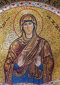 PALERMO - APRIL 8: Mosaic of Saint Anna from Church of Santa Maria dell' Ammiraglio or La Martorana from 12. cent. on April 8, 2013 in Palermo, Italy. — Stock Photo