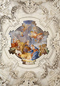 PALERMO - APRIL 8: Nativity scene on ceiling of side nave in church La chiesa del Gesu or Casa Professa. Baroque church was completed in 1636 on April 8, 2013 in Palermo, Italy. — Stock Photo
