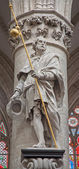 BRUSSELS - JUNE 22: Statue of st. Jacob the apostle by Lucas e Faid Herbe (1644) in baroque style from gothic cathedral of Saint Michael and Saint Gudula on June 22, 2012 in Brussels. — Stock Photo