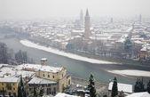 Verona - Outlook from Castel san Pietro in winter — Stock Photo