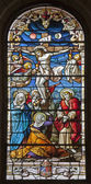 MADRID - MARCH 9: Jesus on the cross. Windowpane from gothic church San Jeronimo el Real on March 9, 2013 in Madrid. — Stock Photo