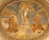 VERONA - JANUARY 27: Fresco of Virgin Mary as Immaculate conception by Agostino Pegrassi from year 1932 in San Bernardino church and Canossa chapel on January 27, 2013 in Verona, Italy. — Stock Photo