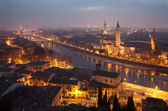 Verona - Outlook from Castel san Pietro in winter evening — Stock Photo