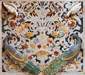 PALERMO - APRIL 8: Detail from mosaic decoration in church La chiesa del Gesu or Casa Professa. Baroque church was completed in year 1636 on April 8, 2013 in Palermo, Italy. — Stock Photo