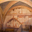 STITNIK, SLOVAKI- DECEMBER 29, 2013: Medieval frescos on chorus in gothic evangelical church in Stitnik from 14 - 15 cent. — Stock Photo #38946861